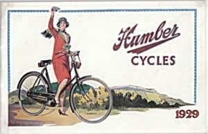 Ad for Humber Cycles, 1929, showing female cyclist on a sit up and beg style bike